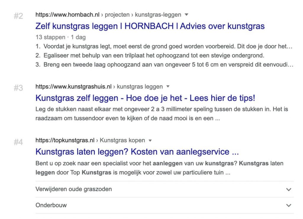 Screenshot Ranking 1 to 4 SERP Google