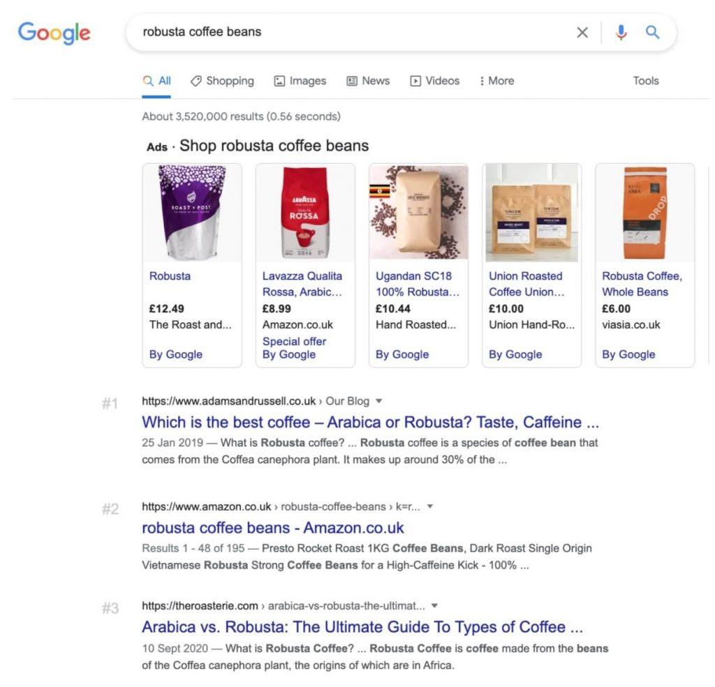 Screenshot SERP Google query coffee beans
